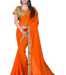 Buy Orange embroidered silk saree with blouse bridal-saree online