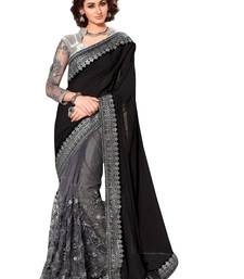 Buy Black  and  silver designer embroidered party wear saree with blouse piece designer-embroidered-saree online