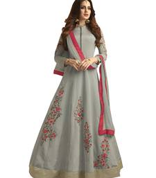 Buy Grey embroidered taffeta salwar festive-salwar-suit online
