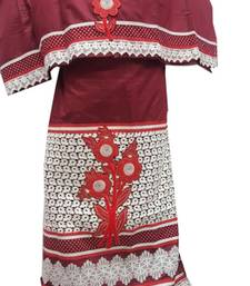 Buy Kromé wine red coloured with lace and border work semi stitched rida dress rida online