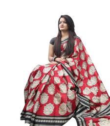 Buy Red printed art silk saree with blouse handloom-saree online