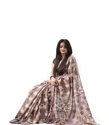 Buy Coffee printed art silk saree with blouse handloom-saree online