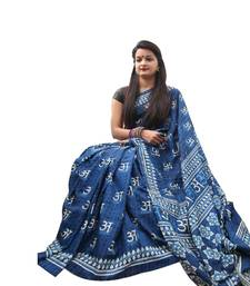 Buy Blue printed art silk saree with blouse handloom-saree online