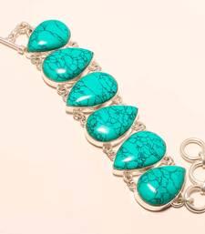 "Buy Santa rosa turquoise gemstone 925 silver handmade bracelet 7-8"" gemstone-bracelet online"