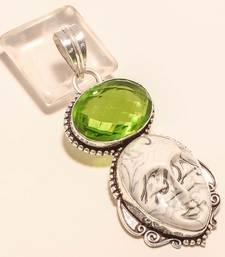 "Buy Carved zebra jasper face gemstone 925 silver jewelry pendant 2.65"" gemstone-pendant online"