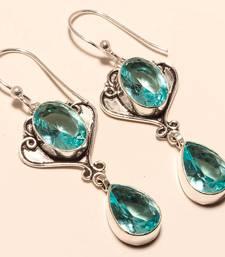 """Buy Blue topaz gemstone 925 silver jewelry earring 2.38"""" gemstone-earring online"""