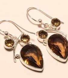 """Buy Smokey topaz gemstone 925 silver jewelry earring 1.64"""" gemstone-earring online"""