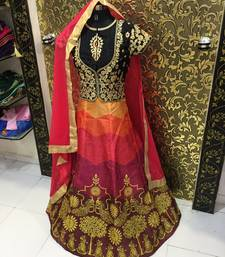 Buy Multicolor embroidered silk unstitched lehenga bollywood-lehenga online