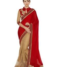 Buy Indian women Red Half and Half Sari Raw Silk saree with blouse party-wear-saree online
