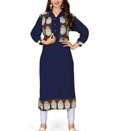 Buy Blue embroidered cotton party-wear-kurtis party-wear-kurtis online