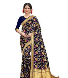 Buy Navyblue woven banarasi silk saree with blouse banarasi-silk-saree online