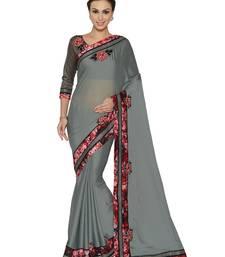 Buy Indian women Grey Designer Saree with Heavy Work Raw Silk saree with blouse chiffon-saree online