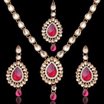 India jewelry bollywood colourful stone kundan like mang tikka necklace set
