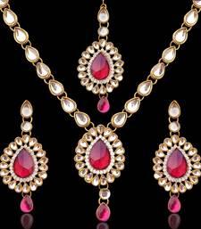 Buy India jewelry bollywood colourful stone kundan like mang tikka necklace set necklace-set online
