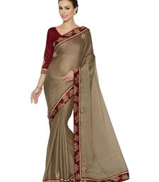 Buy Indian women Brown Designer Saree with Heavy Work Raw Silk saree with blouse chiffon-saree online