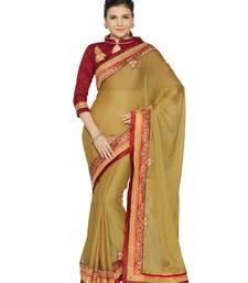 Buy Indian women Beige Designer Saree with Heavy Work Raw Silk saree with blouse party-wear-saree online