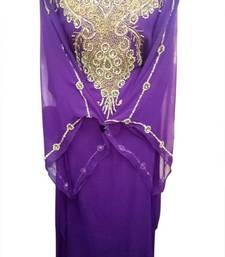 Buy Purple Beads and Stone Work Georgette Hand Stiched Arab Islamic farasha farasha online