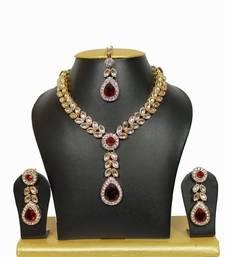 Buy Nityanavi Kundan Necklace Set in Maroon necklace-set online