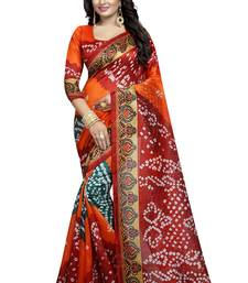 Buy Orange printed cotton silk saree with blouse bandhani-sarees-bandhej online