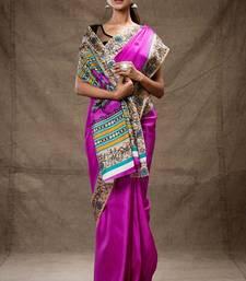 Buy Pink tussar silk saree hand-woven-saree online