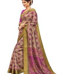 Buy Purple printed faux  silk saree with blouse art-silk-saree online
