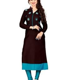 Buy Brown hand woven rayon party wear kurtis party-wear-kurtis online
