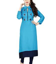 Buy Sky blue hand woven rayon party wear kurtis party-wear-kurtis online