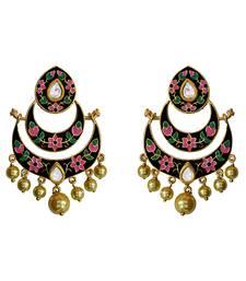 Buy Meenakari kundan double layer gold plated brass chaand bali jhumka fashion earring set for women Earring online