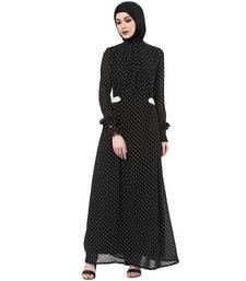 Buy Black/white polka dot printed ggt. and crepe arab islamic abaya abaya online