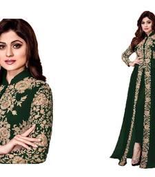 Buy Green embroidered georgette salwar anarkali-salwar-kameez online