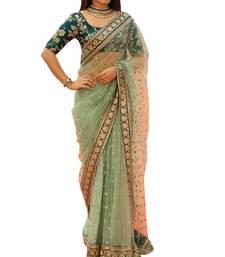 Buy Light green embroidered nylon wedding saree  bridal-saree online