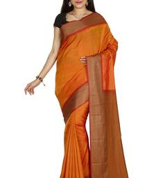 Buy Dark gold hand woven pure silk saree with blouse south-indian-saree online