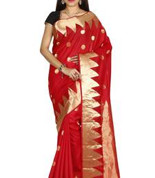Buy Red hand woven pure silk saree with blouse south-indian-saree online