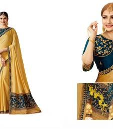 Buy Yellow embroidered silk saree with blouse bollywood-saree online