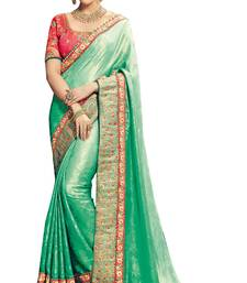 Buy Sea green embroidered silk saree with blouse banarasi-saree online