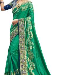 Buy Green embroidered silk saree with blouse banarasi-saree online
