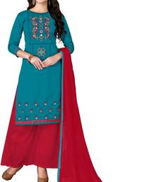 Buy Blue embroidered cotton unstitched salwar with dupatta palazzo online