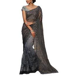Buy Silver embroidered nylon saree with blouse bridal-saree online