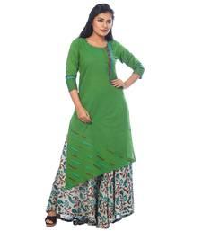 Buy Green printed cotton stitched kurtis kurtas-and-kurtis online