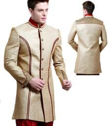 Buy Gold Brocade Zari Thread Zardosi sherwani indo-western-dress online