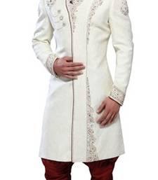 Buy White Brocade Zari Thread Zardosi sherwani indo-western-dress online