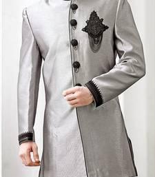 Buy Grey Brocade Zari Thread Zardosi sherwani wedding-season-sale online