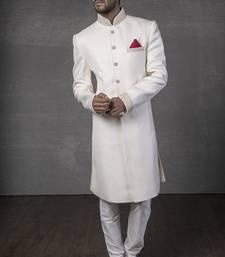 Buy White Brocade Zari Thread Zardosi sherwani jodhpuri-sherwani online