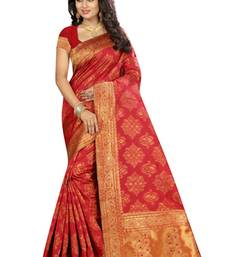 Buy Red printed silk saree with blouse kanchipuram-silk-saree online