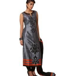 Buy Grey printed stitched silk party-wear-kurtis party-wear-kurtis online