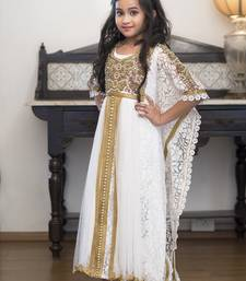 Buy White Party Dress With Gold Handwork Girl Kaftan kids-kaftan online
