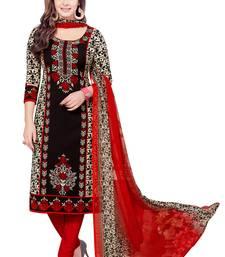 Buy Black crepe printed unstitched salwar kameez with dupatta dress-material online