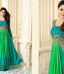 Buy blue embroidred Satin semi stitched salwar with dupatta semi-stitched-salwar-suit online