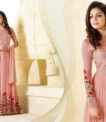 Buy pink embroidred Gorgette semi stitched salwar with dupatta