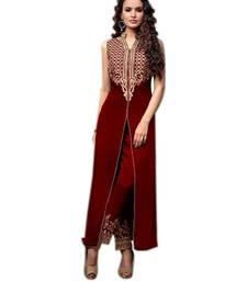 Buy maroon embroidered georgette semi stitched salwar with dupatta party-wear-salwar-kameez online